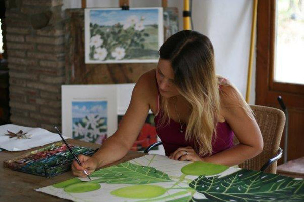 Holly Melia working in her studio